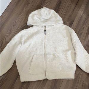PINK white Sherpa zip-up